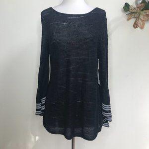 NIC+ZOE Scoop Neck Bell Sleeve Open Knit Sweater Black Size Medium NWT